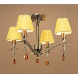 Mantra M0345AB Siena Semi Ceiling Round 4 Light E14, Antique Brass With Amber Cream Shades And Amber Crystal