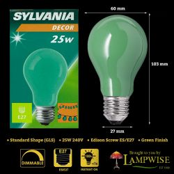 Sylvania 25 Watt ES E27 Green Coloured Gls Bulb