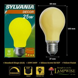 Sylvania 25 Watt ES E27 Yellow Coloured Gls Bulb
