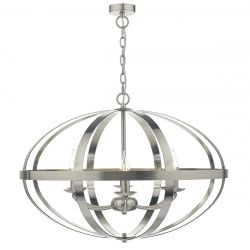 Dar Lighting SYM0646 Symbol 6 Light Pendant Satin Chrome
