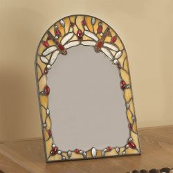 Interiors 1900 T056MS Beige Dragonfly Tiffany Style Desk Mirror
