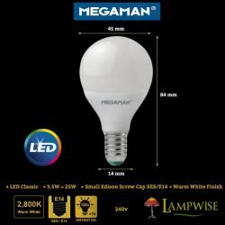 Megaman 3.5W SES/E14 LED Classic Golf Ball Round Opal Bulb, Warm White