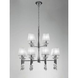 Mantra M3850 Tiffany Pendant 2 Tier 12+12 Light E14, Polished Chrome With White Shades & Clear Crystal