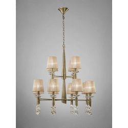 Mantra M3870 Tiffany Pendant 2 Tier 12+12 Light E14, Antique Brass With Soft Bronze Shades & Clear Crystal
