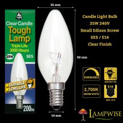 Bell 25W SES/E14 Dimmable Clear Candle Light Bulb