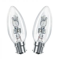 2x Halogen 35mm Clear Candle 30W = 37W BC/B22d Dimmable, Warm White