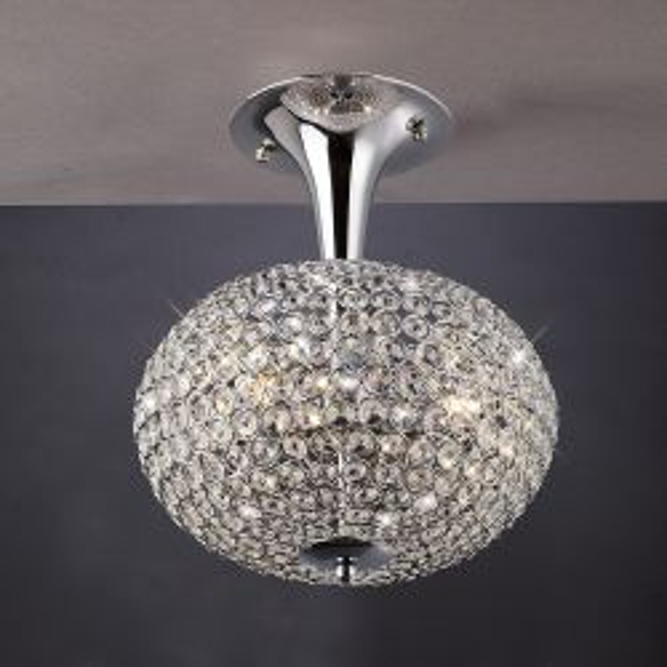 Diyas IL30415 Vado Polished Chrome/Crystal 3 Light Semi Flush Ceiling light