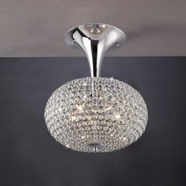 Diyas IL30416 Vado Polished Chrome/Crystal 5 Light Semi Flush Ceiling light