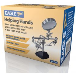 Helping Hands with 60 mm Magnifier Lens, Soldering Iron Rest & 2 Articulated Arms