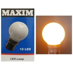 MAXIM Yellow Coloured LED 1-2W 240V BC B22 G45 Golf Ball Round