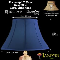 Interiors 1900 Rochamp Zara 16in 410mm Bowed Empire Navy Blue Silk Shade