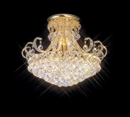 SPECTRUM Medium Ceiling Pendant Chandelier French Gold and Crystal