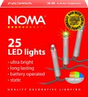 Noma 1205CM Battery Powered 25 Multi Coloured LED Static Lights with Clear Cable
