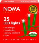 Noma 1205GW Battery Powered 25 White LED Static Lights with Green Cable