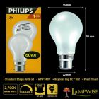 Philips 60w 240v Bayonet Cap BC B22 Dimmable GLS Pearl Light Bulb Twin Pack