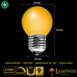 BELL 15W ES/E27 45mm Amber Coloured Vacuum Filled Round Ball Festoon Lamp