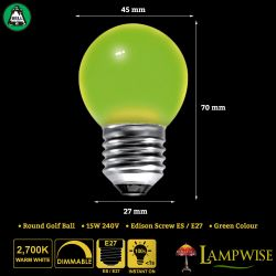 BELL 15W ES/E27 45mm Green Coloured Vacuum Filled Round Ball Festoon Lamp