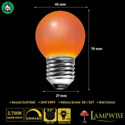 BELL 15W ES/E27 45mm Red Coloured Vacuum Filled Round Ball Festoon Lamp