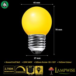 BELL 15W ES/E27 45mm Yellow Coloured Vacuum Filled Round Ball Festoon Lamp