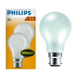 Philips 100W 240V BC/B22 Dimmable GLS Opal Light Bulbs Twin Pack