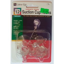 Pack of 12 Suction Cup Hooks Clear Plastic  - 3 sizes 6 mini, 4 small and 2 medium