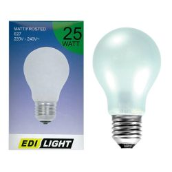 Edi Light 25w 240v Edison Screw ES E27 GLS Dimmable Pearl White Light Bulb