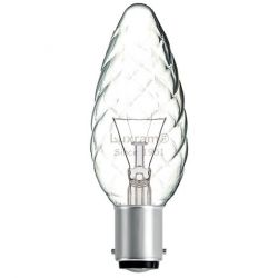 Luxram 40W 240V SBC B15 35mm Twisted Clear Candle Light Bulb