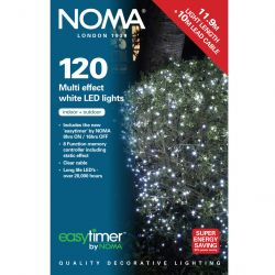 NOMA 11.9m 120 LED Multi Function Cool White with Clear Cable Light Set