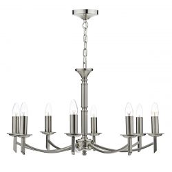 Dar Lighting AMB0846 Ambassador 8 Light Dual Mount Pendant Satin Chrome
