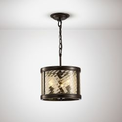 Diyas IL31676 Asia Oiled Bronze/Clear Glass 3 Light E14 Convertible Pendant/Semi Ceiling Light