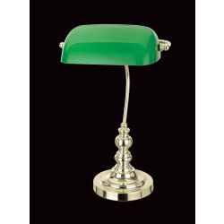 Impex Lighting TB305101/GRN/PB Bankers Lamp 1 Light Polished Brass Green Shade Table Lamp