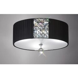 Diyas IL31172/BL Evelyn Polished Chrome/Crystal 3 Light Round Ceiling Light With Black Shade