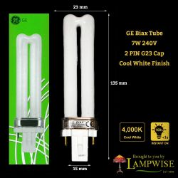 7 Watt General Electric 2 Pin G23 Compact Fluorescent Bls