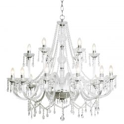 Dar Lighting KATIE 18LT CHANDELIER DUAL MOUNT ACRYLIC GLASS SH SOLD SEP