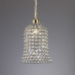 Diyas IL60031 Kudo Antique Brass/Crystal Non-Electric Crystal Bell Shade