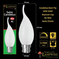 Lampwise 40W 240V BC/B22 Satin Candelux Bent Tip Candle Lamp