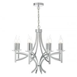 Dar Lighting LYO0850 Lyon 8 Light Pendant Polished Chrome/Crystal