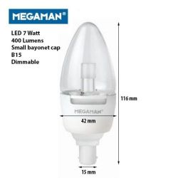 Megaman 7W 240V SBC/B15 Warm White LED Dimmable Clear Candle Lamp