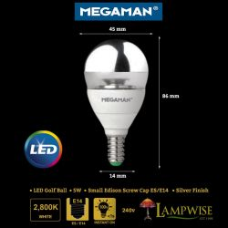 Megaman 5w Led Dimmable SES / E14 Golf Ball Crown Silver Finish