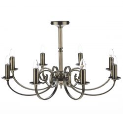Dar Lighting MUR0875 Murray 8 Light Dual Mount Pendant Antique Brass