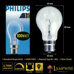 Philips 100w 240v Bayonet Cap BC B22 GLS Dimmable Clear Light Bulb