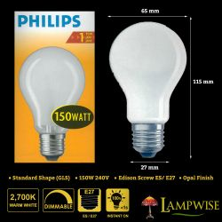 Philips 150W 240V ES E27 A65 Pearl GLS Light Bulb