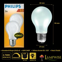 Philips 60W 240V ES E27 Classictone Frosted GLS Light Bulbs Twin Pack
