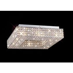 Diyas IL30432 Piazza Polished Chrome/Crystal 8 Light Square Flush Ceiling Light