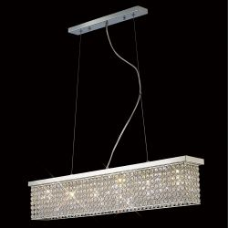 Diyas IL30433 Piazza Polished Chrome/Crystal 6 Light Flush Pendant Rectangular light