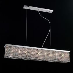 Diyas IL30434 Piazza Polished Chrome/Crystal 9 Light Flush Pendant Rectangular light