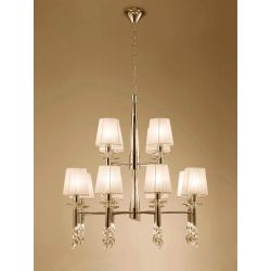 Mantra M3850FG Tiffany Pendant 2 Tier 12+12 Light E14, French Gold With Cream Shades & Clear Crystal